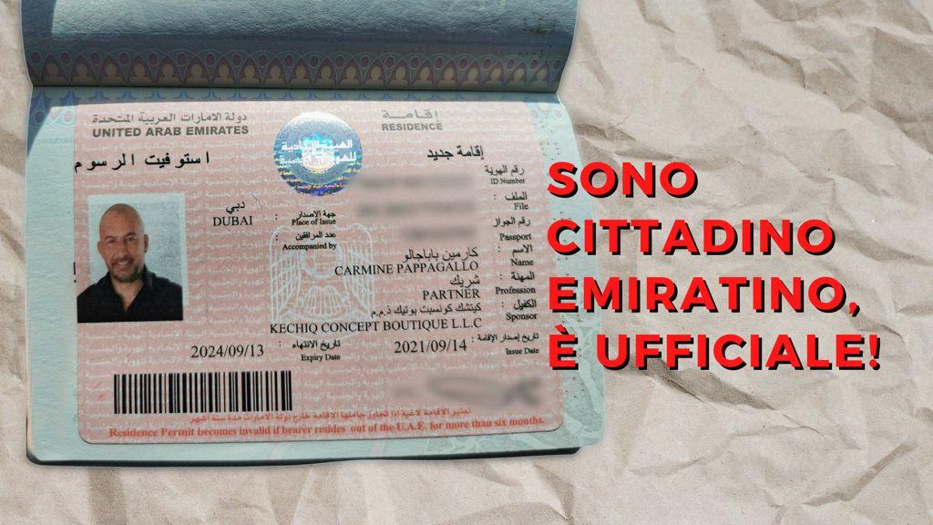 Sono cittadino emiratino, è ufficiale! A presto Dubai, si torna in Italia
